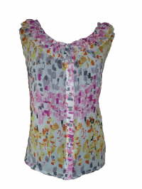 (02) Blouse in voille met ruches